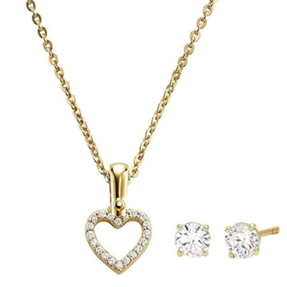 Picture of Michael Kors Gold-Tone Pave Heart Necklace Set