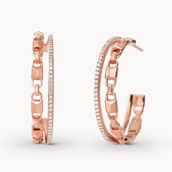 Picture of Michael Kors Double Row Rose Gold-Tone Hoop Earrings