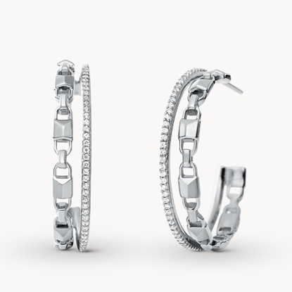 Picture of Michael Kors Double Row Sterling Silver Hoop Earrings