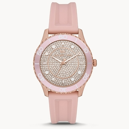 Picture of Michael Kors Oversize Runway Pavé Blush Silicone Watch
