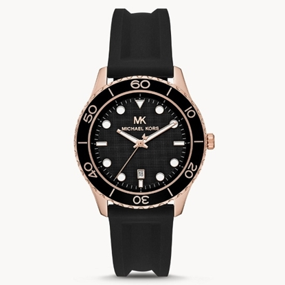 Picture of Michael Kors Runway Three-Hand Watch with Black Silicone Strap
