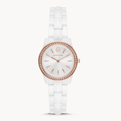 Picture of Michael Kors Runway Mercer Three-Hand White Ceramic Watch