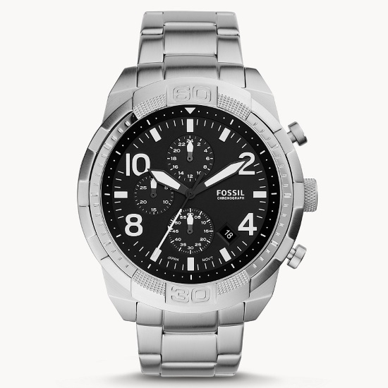 Picture of Fossil Bronson Stainless Steel Chrono Watch with Black Dial
