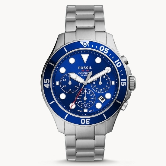 Picture of Fossil FB-03 Chrono Stainless Steel Watch with Blue Dial