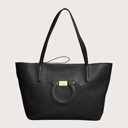 Picture of Salvatore Ferragamo Gancio City Tote - Nero
