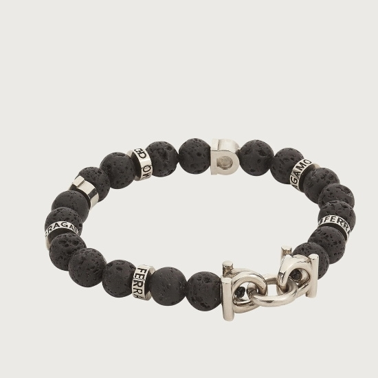 Picture of Salvatore Ferragamo Men's Beaded Stretch Bracelet - Lava Stone