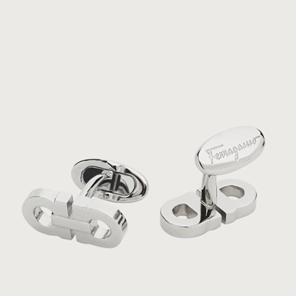 Picture of Salvatore Ferragamo Double Gancini Cufflink - Silver