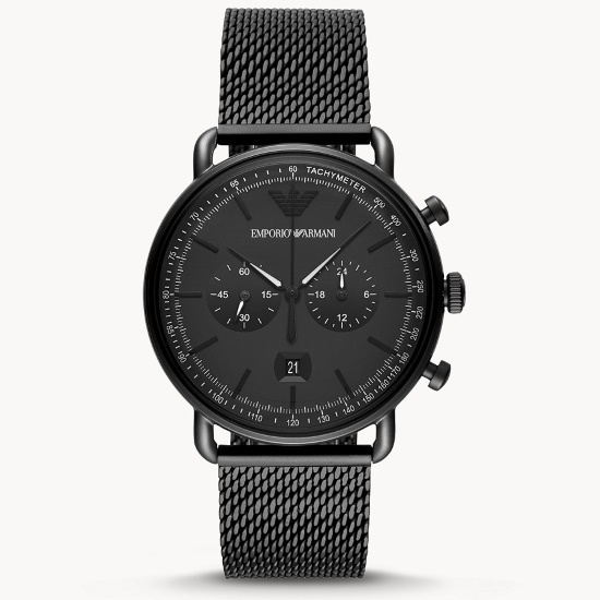 Picture of Emporio Armani Black Mesh Chrono Watch with Black Dial