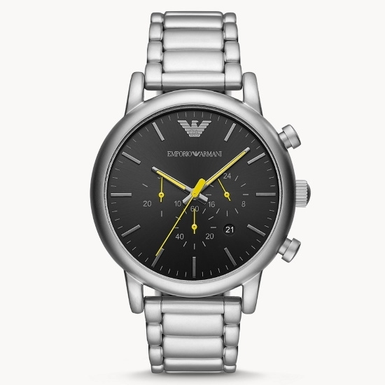 Picture of Emporio Armani Stainless Steel Chrono Watch with Black Dial