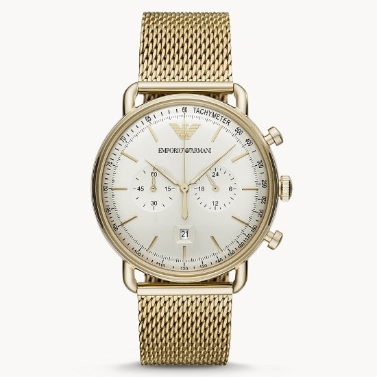 Picture of Emporio Armani Gold-Tone Mesh Watch with White Dial