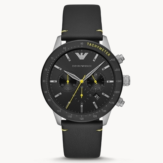 Picture of Emporio Armani Mario Black Leather Watch with Black Dial
