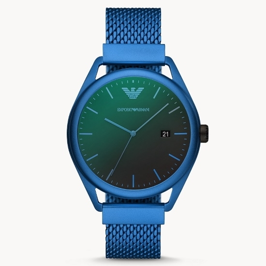 Picture of Emporio Armani Only Time Blue-Tone Steel Watch with Black Dial