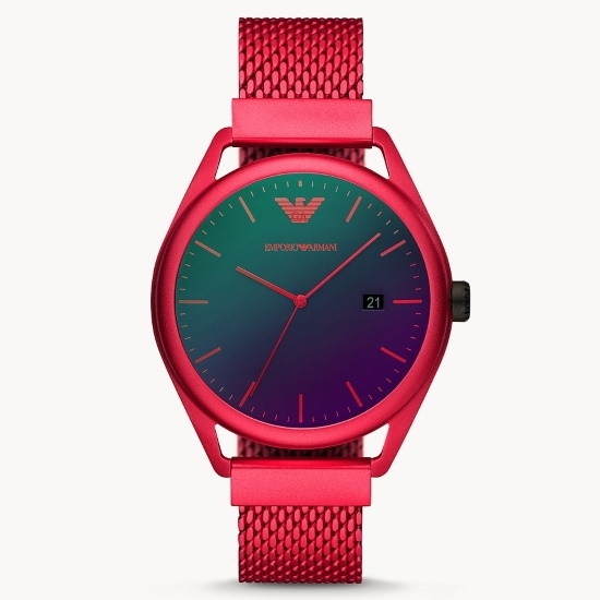 Picture of Emporio Armani Only Time Red-Tone Steel Watch with Black Dial