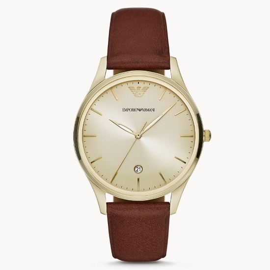 Picture of Emporio Armani Only Time Brown Leather Watch with Gold Dial