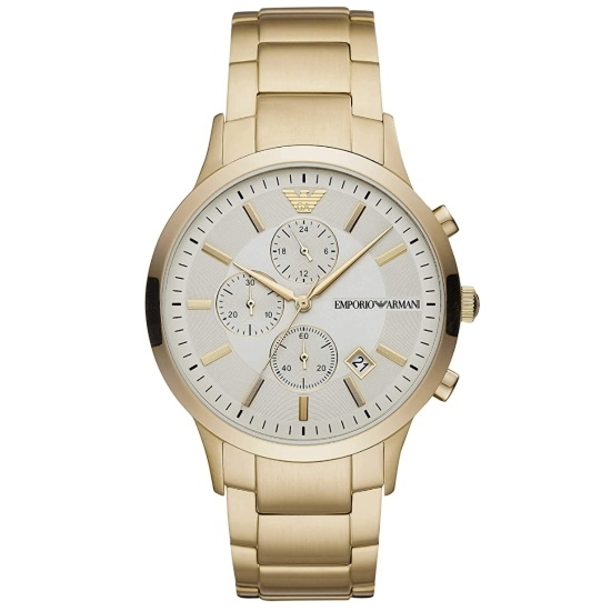 Picture of Emporio Armani Renato Gold-Tone Watch with Gold Dial