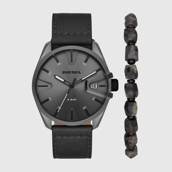 Picture of Diesel MS9 Three-Hand Black Leather Watch