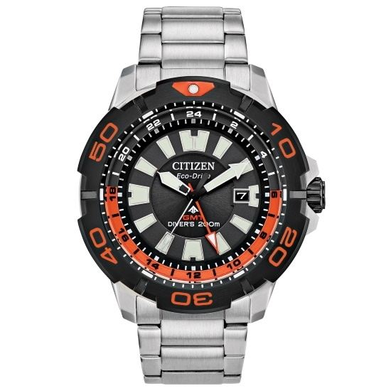 Picture of Citizen Promaster GMT Steel Watch with Black/Orange Dial