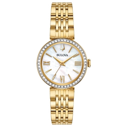 Picture of Bulova Crystal Watch Set with Gold-Tone Bracelet