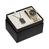 Picture of Bulova Gold-Tone Crystal Watch Set with Dog Tag
