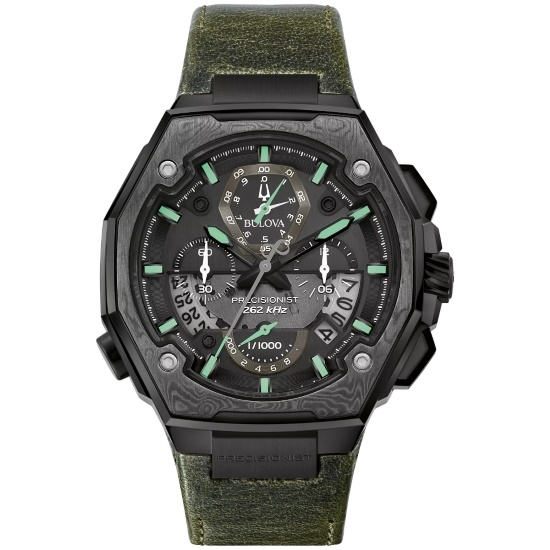 Picture of Bulova Precisionist X Watch with Green Strap & Black Dial