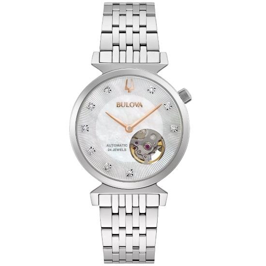 Picture of Bulova Regatta Auto Stainless Steel Watch with Diamonds