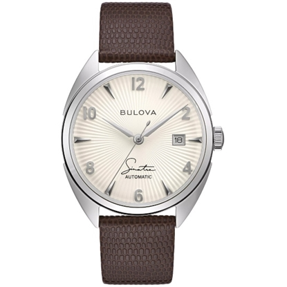 Picture of Bulova Frank Sinatra Auto Watch with Brown Leather Strap