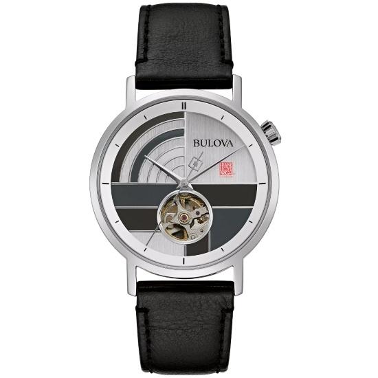 Picture of Bulova Frank Lloyd Wright Oculus Auto Black Leather Watch