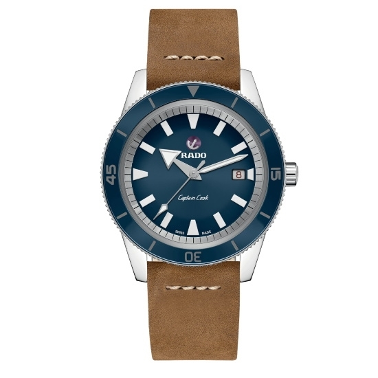 Picture of Rado Captain Cook Auto with Brown Leather Strap & Blue Dial
