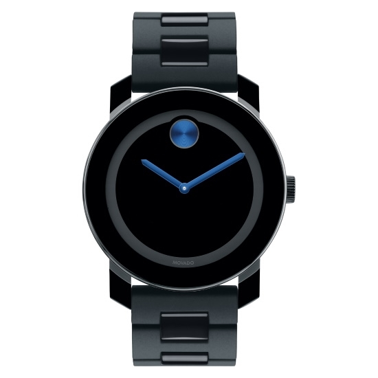 Picture of Movado Bold Gents Watch - Black with Cobalt Blue Dot/Hands