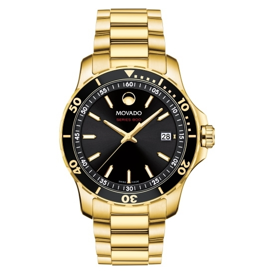 Picture of Movado Series 800 Gents Gold-Tone Watch with Black Dial