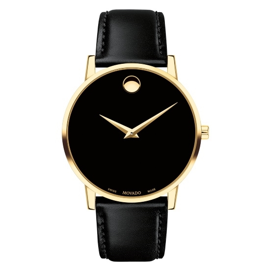 Picture of Movado Classic Museum Gents Watch with Black Strap & Gold Case