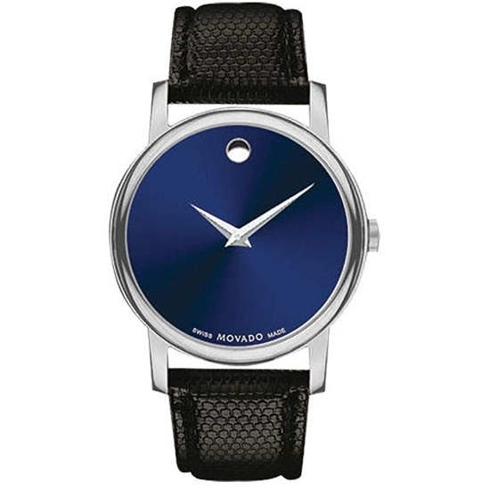 Picture of Movado Classic Museum Ladies Watch w/ Blue Dial & Black Strap
