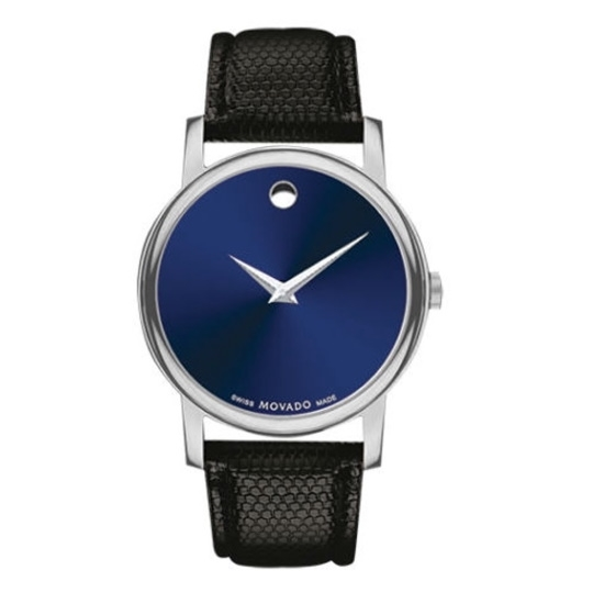 Picture of Movado Classic Museum Gents Watch with Blue Dial & Black Strap