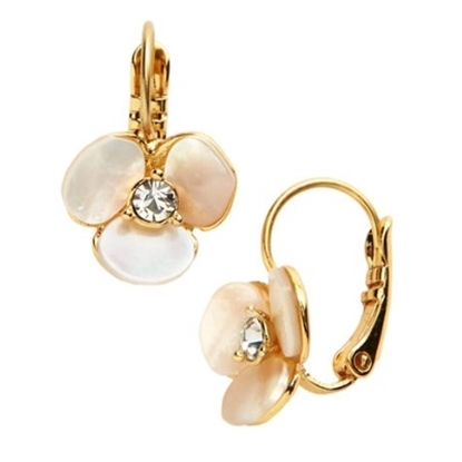 Picture of Kate Spade Disco Pansy Leverback Earrings - Cream/Clear