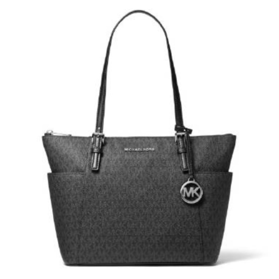 Picture of Michael Kors Jet Set Signature E/W Top-Zip Tote - Black