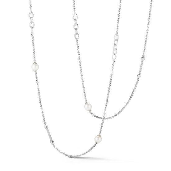 Picture of ALOR Grey Chain Reaction Necklace with Freshwater Pearls