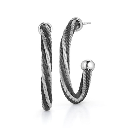 Picture of ALOR Black & Grey Cable Hoop Earrings