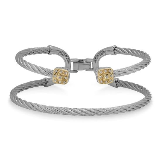 Picture of ALOR Grey Cable Balance Bracelet with Diamonds