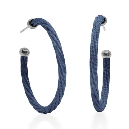 Picture of ALOR 40mm Cable Hoop Earrings - Blueberry
