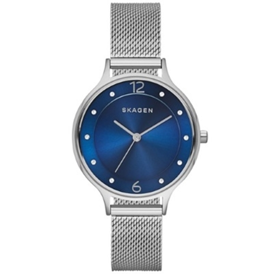 Picture of Skagen Anita Silver Mesh Watch with Blue Dial