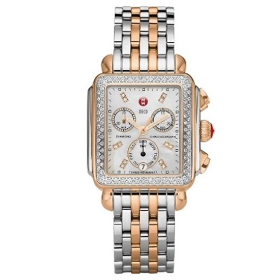 Picture of Michele Two-Tone Signature Deco Diamond with White MOP Dial
