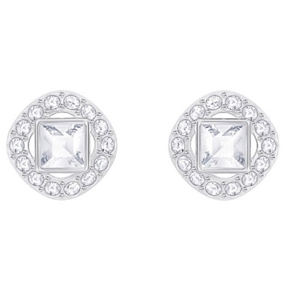 Picture of Swarovski Angelic Square Pierced Earrings - Rhodium/White
