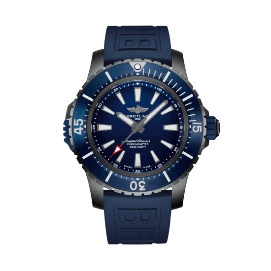 Picture of Breitling Superocean Auto 48 Titanium with Blue Rubber Strap