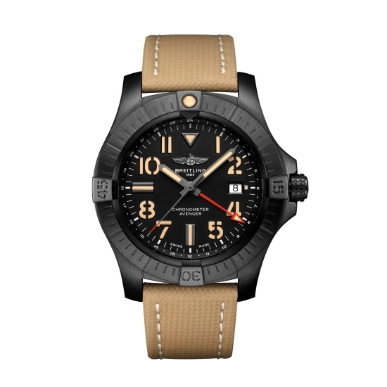 Picture of Breitling Avenger Auto GMT 45 Night Mission with Beige Strap