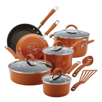 Picture of Rachael Ray Cucina 12PC Porcelain Cookware Set- Pumpkin Orange