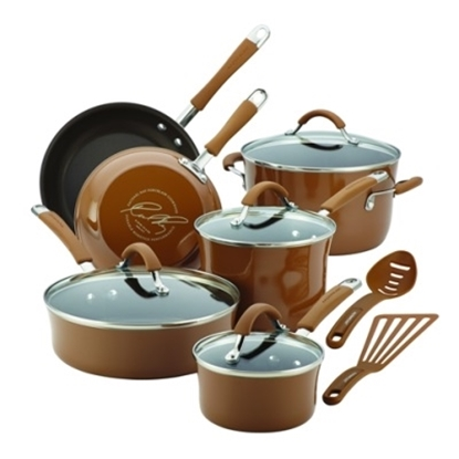 Picture of Rachael Ray Cucina 12PC Porcelain Cookware Set- Mushroom Brown