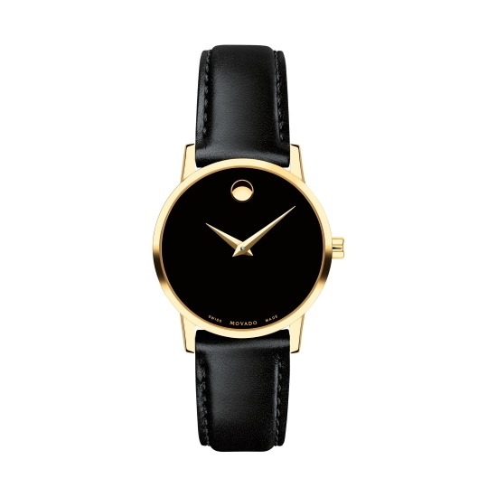 Picture of Movado Classic Museum Ladies Watch w/ Black Strap & Gold Case