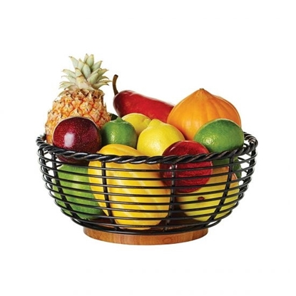 Picture of Mikasa Gourmet Basics 11'' Rope Fruit Basket with Wood Base