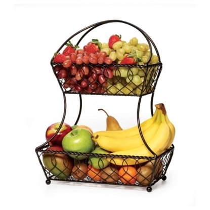 Picture of Mikasa Gourmet Basics 2-Tier Lattice Fruit Basket