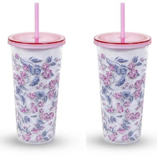 Picture of Vera Bradley Double Walled Tumblers - Hummingbird Ditsy